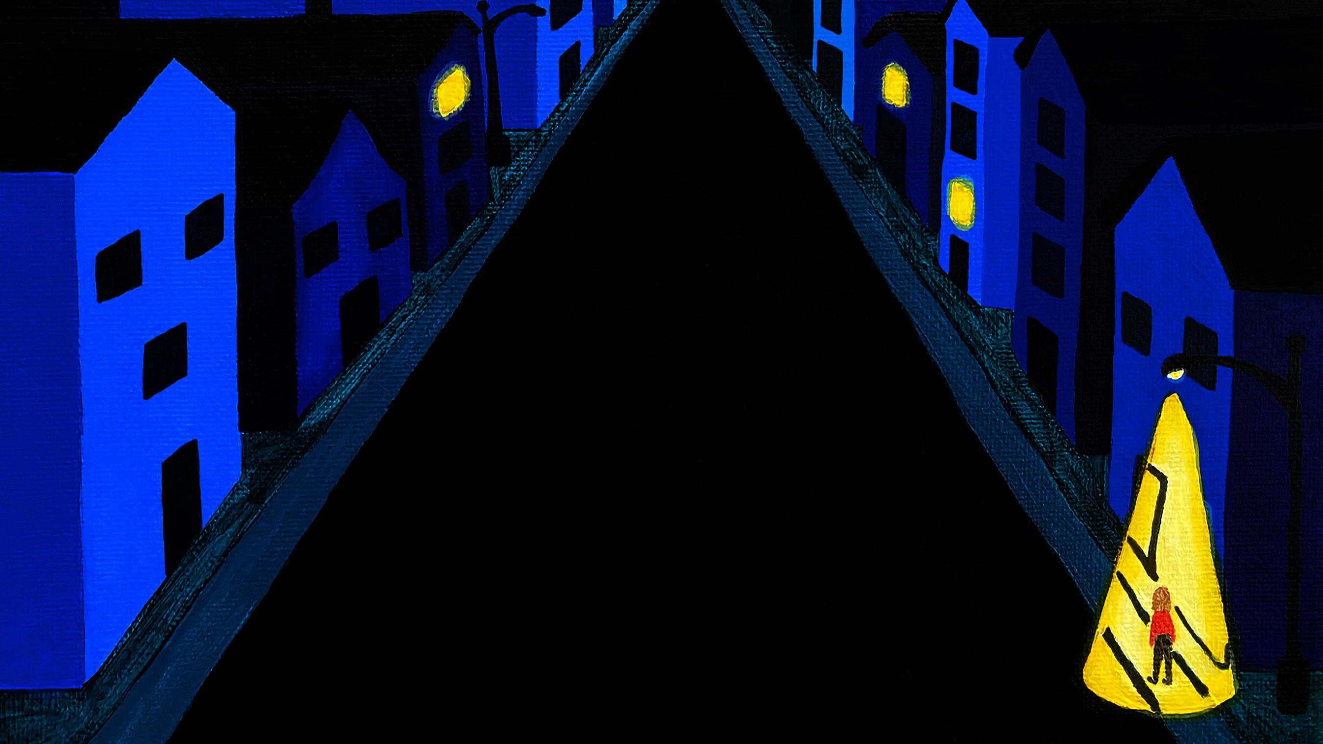 A woman at night